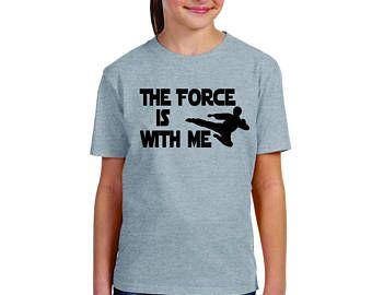 Custom tee shirts, martial arts Karate t-shirt design, The Force is with Me kicker, kids karate shirt, Taekwondo class shirt, Eat Sleep Kick