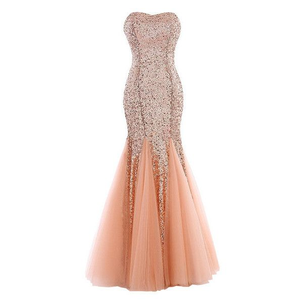 Peach Sequin Mermaid Evening Gown ($59) ❤ liked on Polyvore featuring dresses, gowns and gown