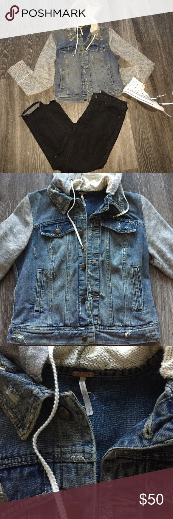 Free People jean jacket hoodie Lightly distressed with gray sleeves and hood. perfect for upcoming fall! Great condition. Free People Jackets & Coats Jean Jackets