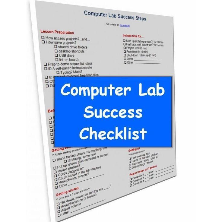 Computer Lab Procedures Checklist for Grades 1-6