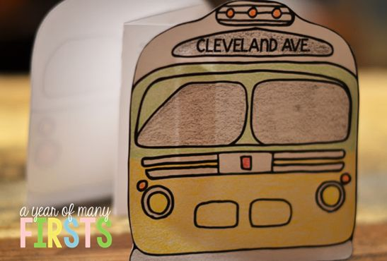 Rosa Parks Bus Craft....write the facts on the inside of the bus!