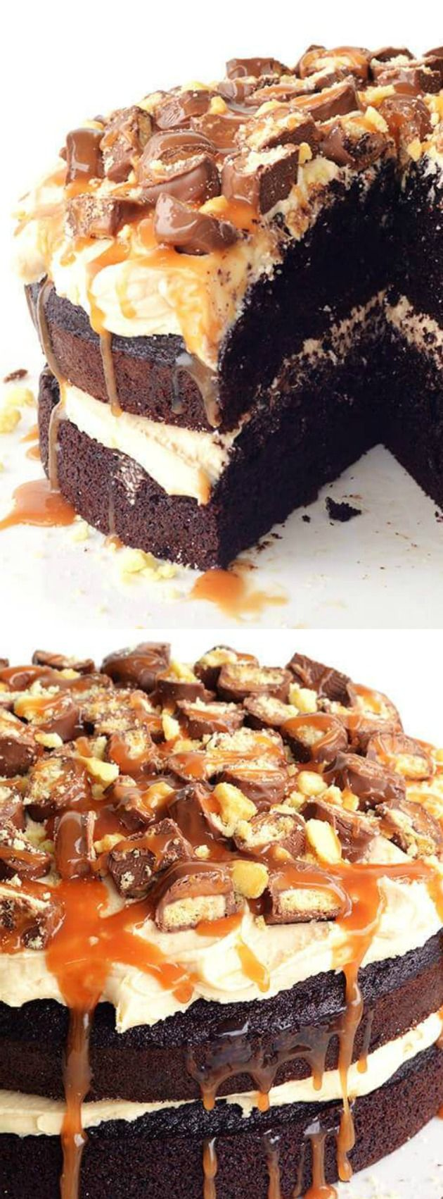 Twix Chocolate Layer Cake from Sweetest Menu is a cake with two decadent chocolate layers separated by smooth caramel frosting and is topped with a mixture of chopped Twix bars, crumbled shortbread cookies, and a sweet caramel sauce.