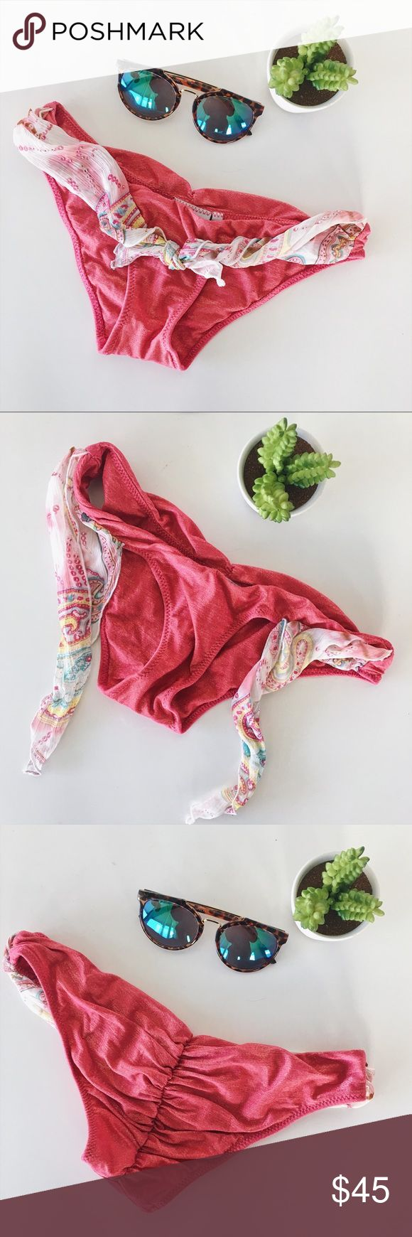 Beach Bunny Swim • NWOT pink bikini bottoms These Beach Bunny Swimwear bikini bottoms are super cute and unique. These have a gorgeous dark pink color with golden metallic threads. The back has a ruched butt which really enhances your curves. The front has a cute scarf like tie front detail. These would be perfect to mix and match with a neutral top. New condition without tags. Size small. Beach Bunny Swim Bikinis