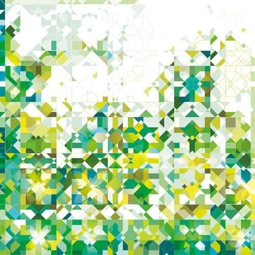 Zillij: Green abstract Arabic Pattern