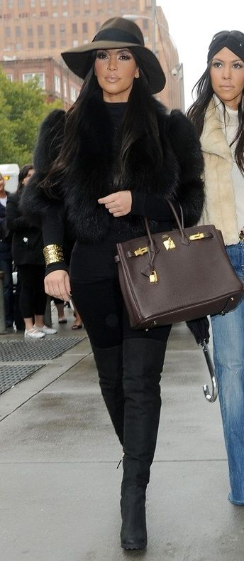 Kim Kardashian in Jacket and shoes – Fendi Shirt – American Apparel Jeans – Citizens of Humanity Hat – Urban Outfitters Purse – Hermes: