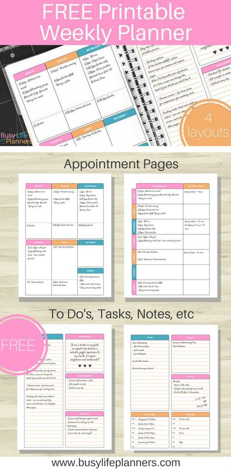 Free weekly planner printable available to download. Really cute design, with four layout options. Includes appointments plus customizable spaces for to do lists, shopping list, gratitude journalling, kids schedules, meal planning, and more. Love it! By Busy Life Planners {subscription required}