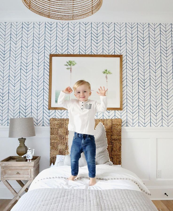 Pretty Kids Room With Blue Herringbone Wall Paper #kidsroom  #kidsbedroomideas #blueinspiration Find More Part 49