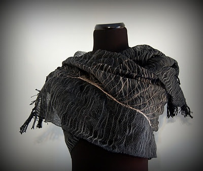 woven scarf with machine stitching for detail by Fabricatedends
