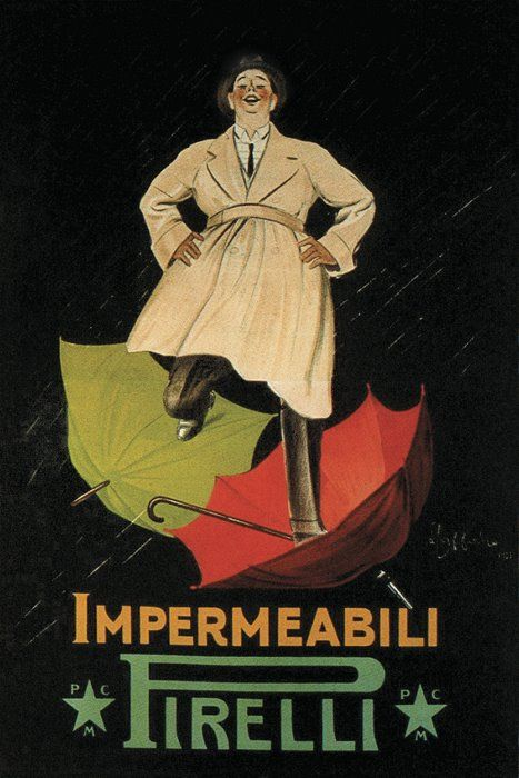 "Vintage Italian Posters ~ #illustrator  #Italian #posters ~ ""Impermeabli Pirelli"" Italian Advertising Poster by Leonetto Cappiello"