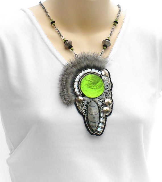 Statement Necklace Seed Bead Embroidery Boho от BeadworkAndCoe