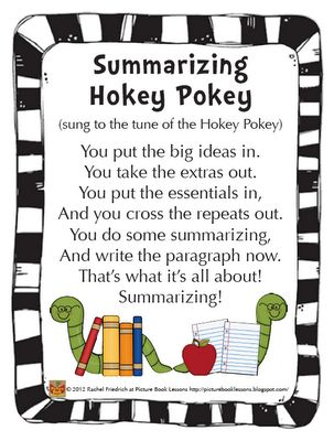 Picture Book Lessons: The Summarizing Hokey Pokey: That's What It's All About. picturebooklessons.blogspot.com