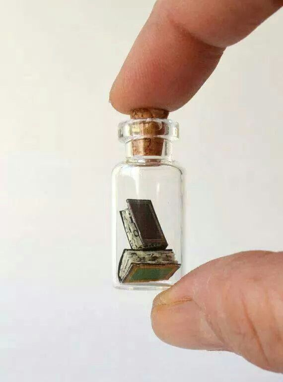 Tiny books in a bottle