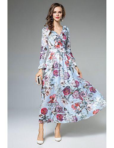 309ddfc3d7 35.99  Mulheres Trabalho Casual   Moda de Rua balanço Vestido Floral ...