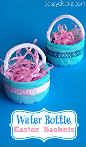 Plastic Water Bottle Easter Basket Craft for Kids #DIY #Upcycle | http://www.sassydealz.com/2014/03/water-bottle-easter-basket-craft-kids.html