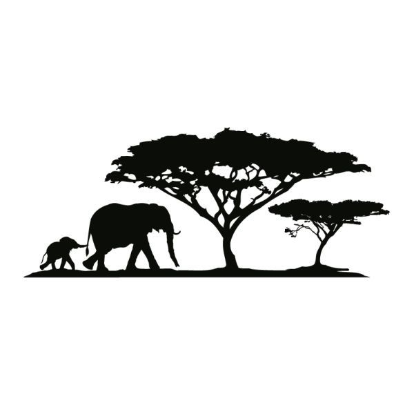wall tattoo elephant mother with elephant baby and trees …