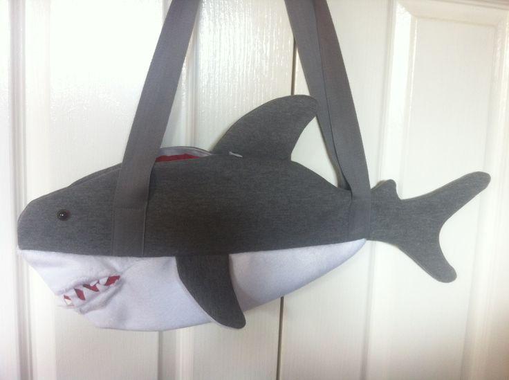 Shark Handbag!!  Grey fleece top, white fur bottom, felt mouth & teeth, 14'' zip and bright red lining for the inside - naturally ;-)