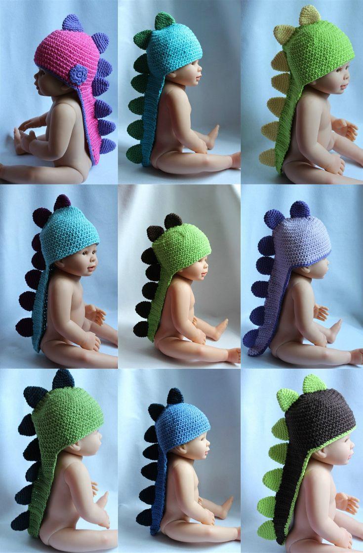 New Cute Baby Child Handmade Knit Crochet Dinosaur Hat Cap Photograph Newborn