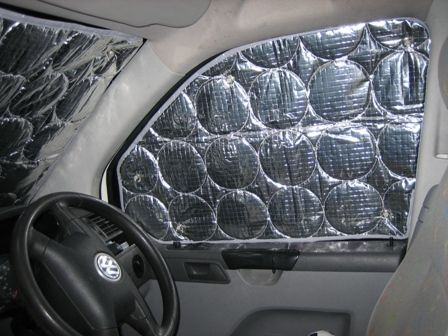 Van Window Insulation Mats. great idea to have if you break down or are stranded out on the road.