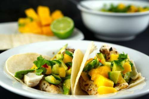 Easy Gluten Free Fish Tacos with Mango Salsa!