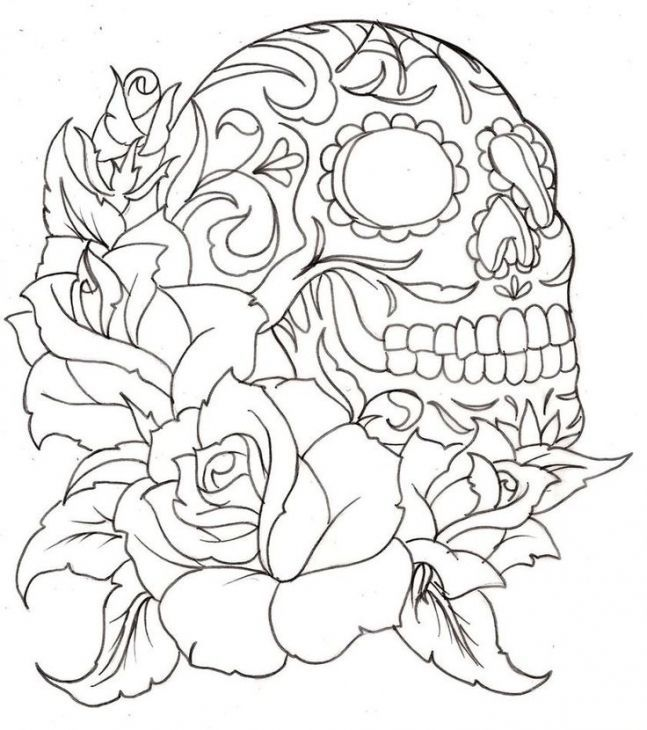 Sugar Skull Coloring Page For Grown Ups