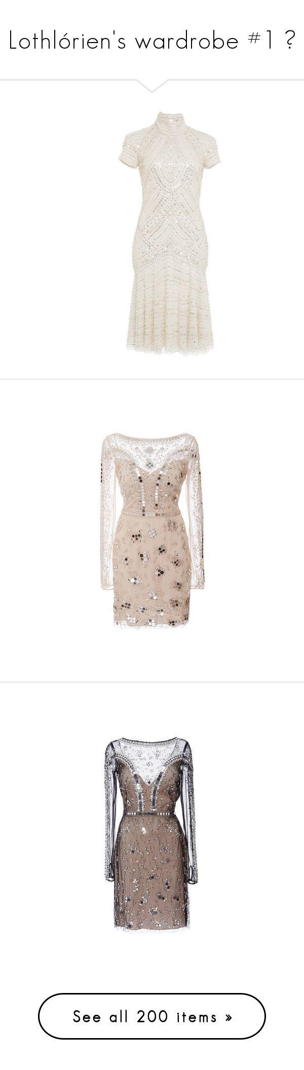 """Lothlórien's wardrobe #1 ❧"" by infinikey ❤ liked on Polyvore featuring middleearth, tolkien, elve, dresses, naeem khan, metallic mini dress, white beaded cocktail dress, fit and flare dress, white fit and flare dress and mini dress"