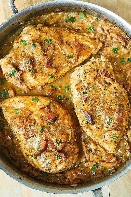 Chicken with Bacon Mustard Sauce - all easy ingredients | via juliasalbum.com