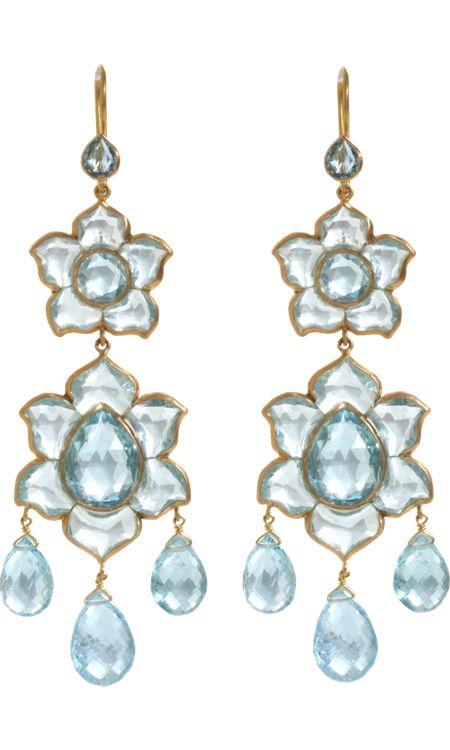 Munnu Aquamarine Large Lotus Drop Earrings