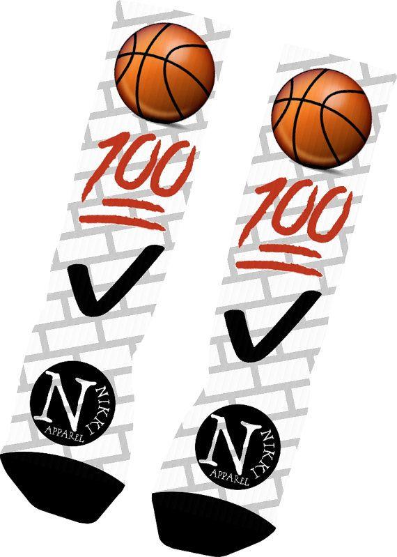 Custom Emoji Basketball Socks Custom Nike Elite by NikkisNameGifts, $18.00
