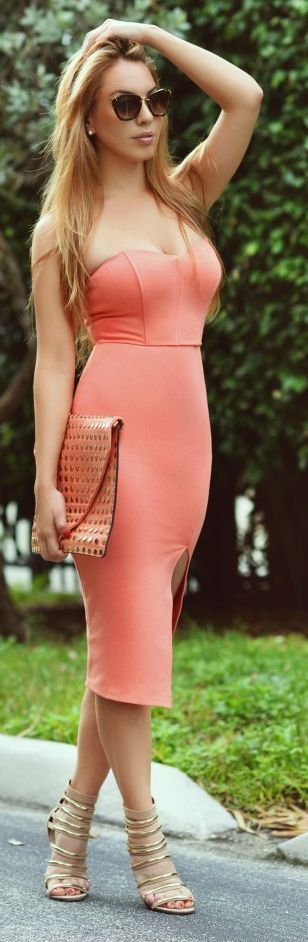 Tangerine Bandeau Body-con Mid Calf Dress by Chic Fashion World