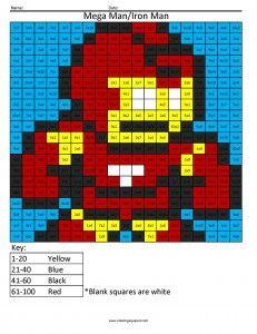Mega Man the Superhero Math Coloring Page- Coloring Squared