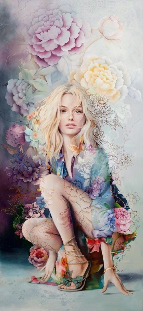 Las flores son idénticas a las hermosas mujeres.
