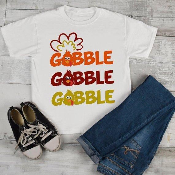 934db41954 Kids Funny Thanksgiving T Shirt Gobble Gobble Turkey Shirts Hipster Tee  Turkeys Boy's Girl's Toddler