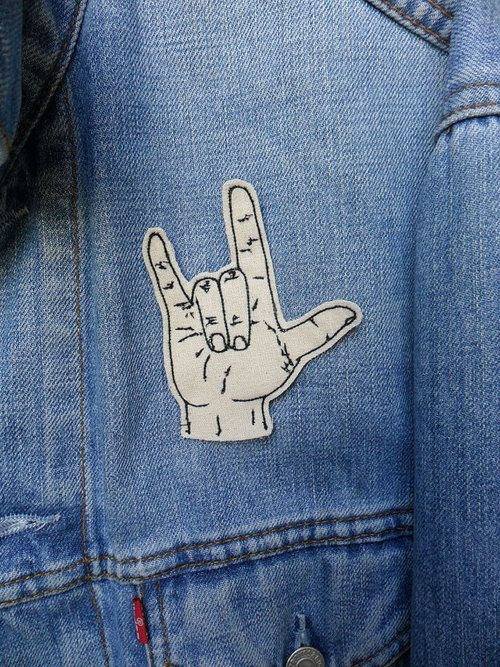 Sign Language Embroidered Patch/Brooch