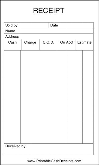 A basic sales receipt that is unlined and has room to note form of payment and other details. Free to download and print
