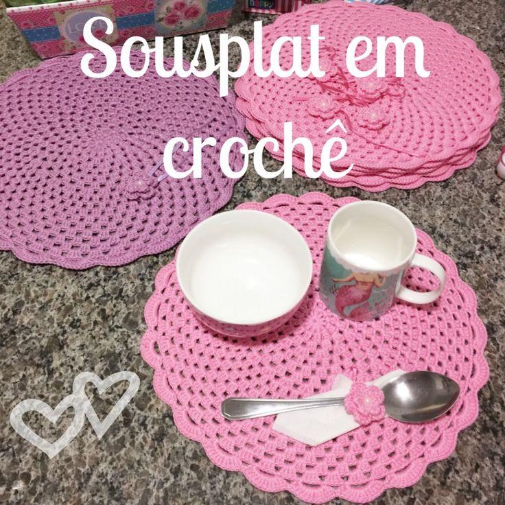 DIY - Como fazer Jogo de Sousplat em Crochê + Porta-guardanapos / Porta-...