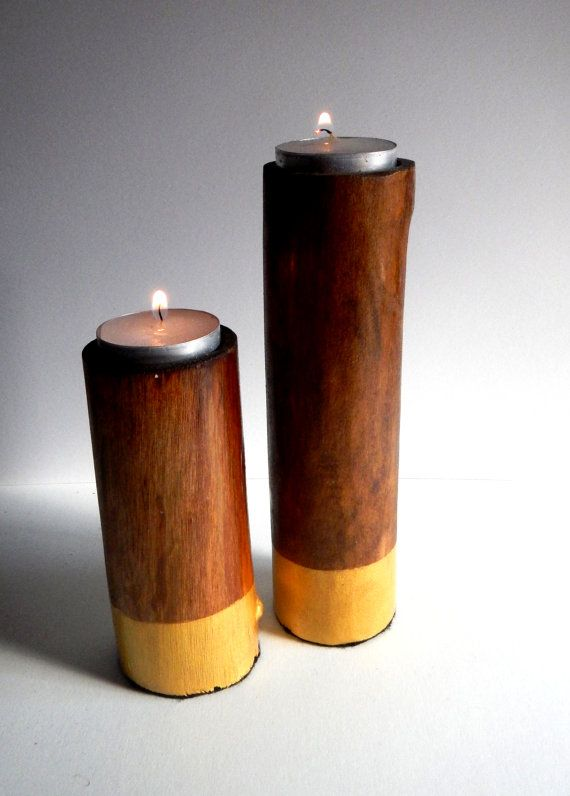 Wooden candle holder upcycled crafts pinterest for Wooden candlesticks for crafts