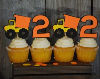 Construction Birthday Party Cupcake Toppers, Dump Truck Birthday, Construction Party