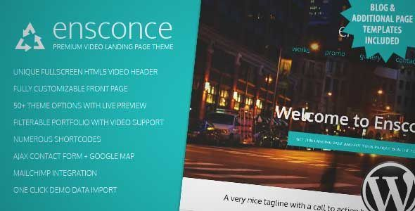 Download and review of Ensconce - Responsive WordPress Video Landing Page, one of the best Themeforest Entertainment themes