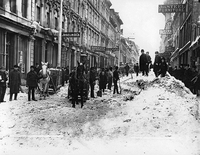 Clearing snow, Notre Dame Street, Montreal, QC, about 1887, via Flickr.