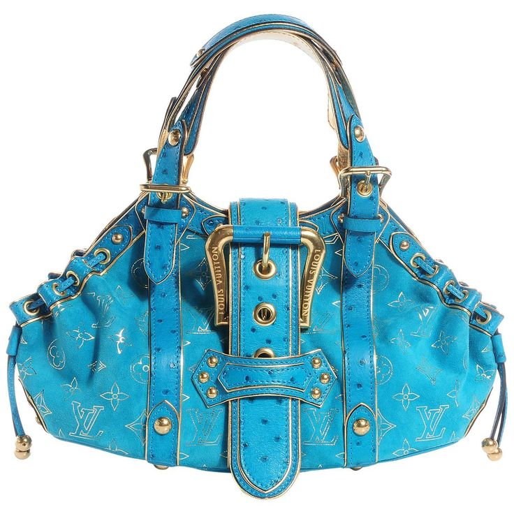 Rare Louis Vuitton Turquoise Suede Ostrich Skin Monogram Bag | From a collection of rare vintage shoulder bags at https://www.1stdibs.com/fashion/handbags-purses-bags/shoulder-bags/