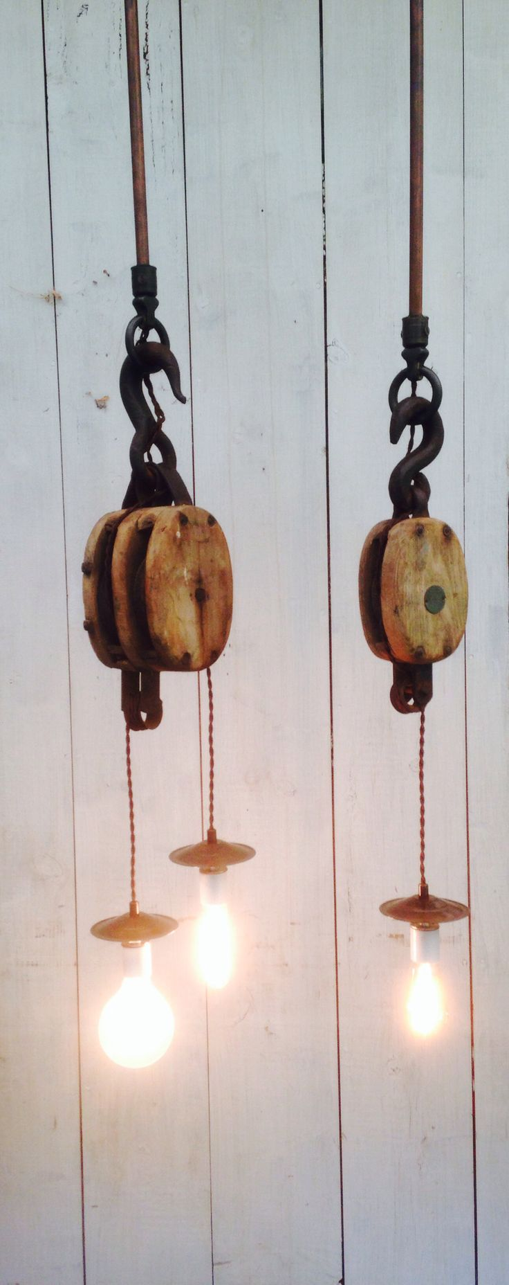 Just finished these barn block and tackle lights with rayon covered wire and copper rods.  Sweet!  High Beams Ltd.