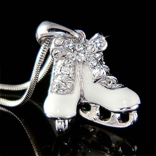 Swarovski Crystal Girls Ice Skating Hockey Shoes figure Skates Pendant Chain Necklace Christmas Gift New on Etsy, $38.00