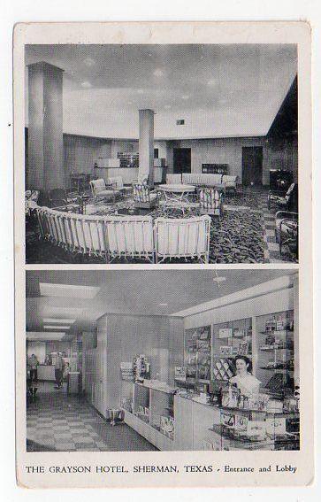 The Grayson Hotel Sherman Texas Postcard Vintage