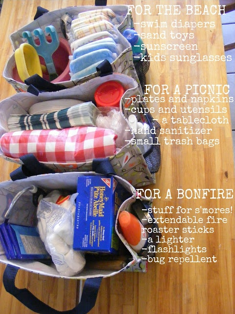 I've been trying to get this going for a while and start and never finish. Maybe this will help me wrangle my ideas... Pre packed bags for grab and go trips. She has picnic, beach, and bonfire. Great idea!