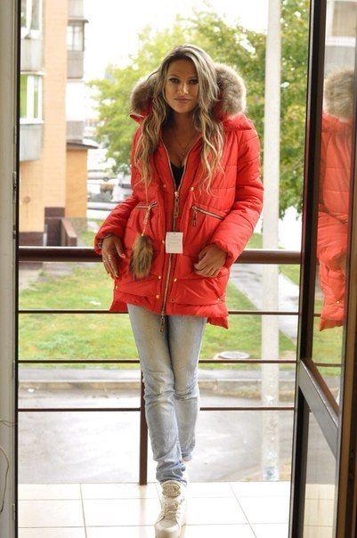 Зимняя куртка парка красная