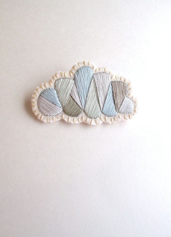 Gray cloud geometric brooch hand embroidered with a silver lining onto cream muslin and cream felt Fall fashion