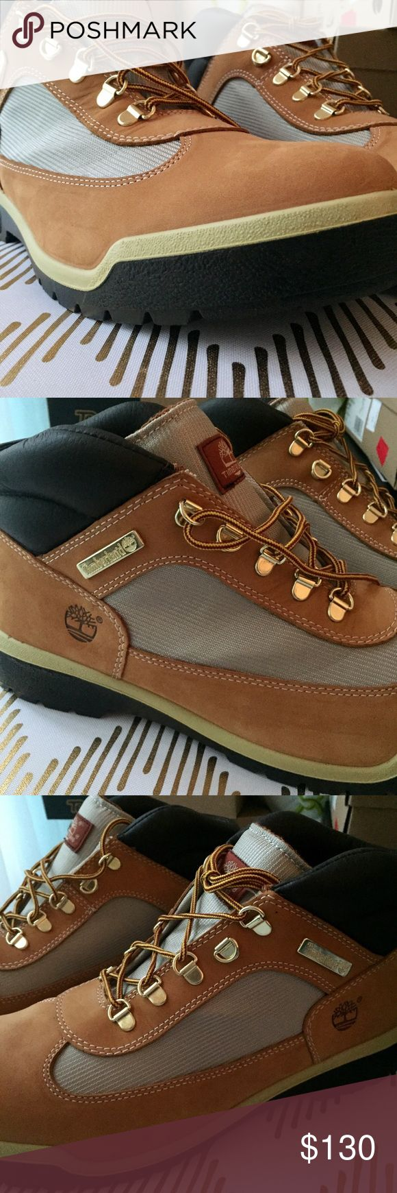 NWT MEN'S TIMBERLANDS WATERPROOF FIELD BOOTS Waterproof. Canvas. Leather. Retro. Our men's field boots are better than ever this season, packed with the performance you want when you're out on the trails and the style you want for your weekend look.  Premium waterproof leather uppers Waterproof membrane keeps feet dry in any weather Laces are made from 100% recycled nylon Padded collar for comfort Removable anti-fatigue footbeds for all-day comfort Direct-inject polyurethane outsoles…