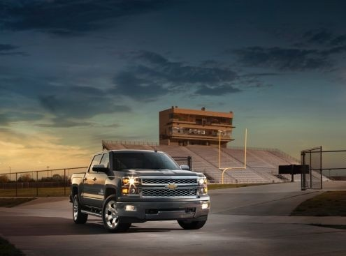 New 2014 Silverado Texas Edition fires shot across the grille of Ford F-150 for 2014.