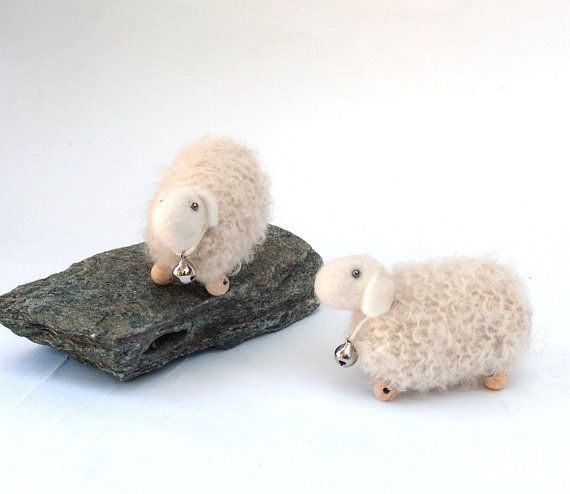 Tiny white knitted sheep 1 pcs waldorf toys. by LaFiabaRussa