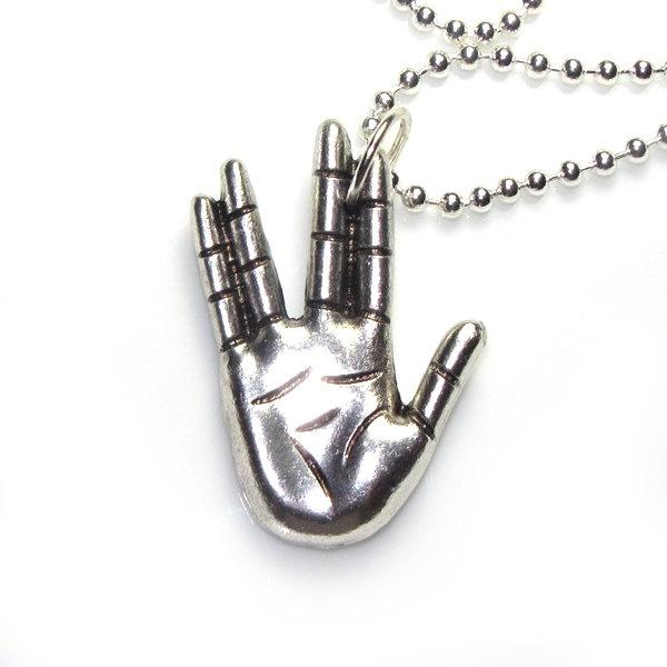 Star Trek Vulcan hand sign (Etsy:: http://www.etsy.com/listing/86273317/star-trek-vulcan-hand-sign-live-long-and )